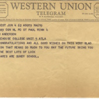 Telegram from St. James AME Church to Marvin Anderson