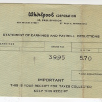 Marvin Anderson's first paycheck stub